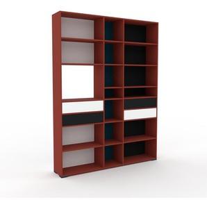 Bücherregal Rot - Modernes Regal für Bücher: Schubladen in Weiß - 190 x 254 x 35 cm, Individuell konfigurierbar