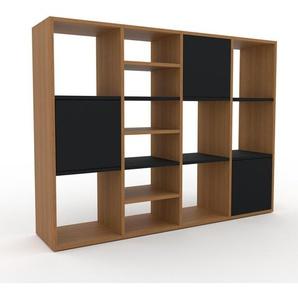 Bücherregal Eiche - Modernes Regal für Bücher: Türen in Schwarz - 156 x 118 x 35 cm, Individuell konfigurierbar