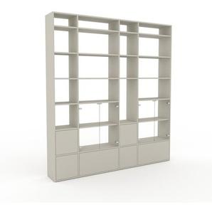 Bücherregal Sandgrau - Modernes Regal für Bücher: Schubladen in Sandgrau & Türen in Kristallglas klar - 229 x 253 x 35 cm, konfigurierbar