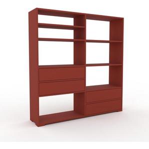 Bücherregal Rot - Modernes Regal für Bücher: Schubladen in Rot - 152 x 158 x 35 cm, Individuell konfigurierbar