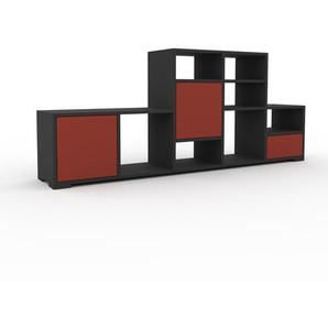 Bücherregal Anthrazit - Modernes Regal für Bücher: Schubladen in Rot & Türen in Rot - 195 x 81 x 35 cm, konfigurierbar
