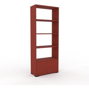 Bücherregal Rot - Modernes Regal für Bücher: Türen in Rot - 77 x 196 x 35 cm, Individuell konfigurierbar