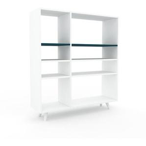 Bücherregal Weiß - Modernes Regal für Bücher: Hochwertige Qualität, einzigartiges Design - 116 x 130 x 35 cm, Individuell konfigurierbar