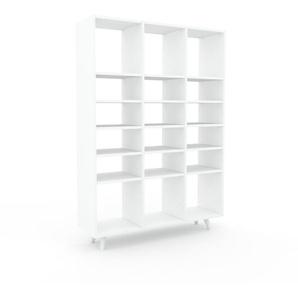 Bücherregal Weiß - Modernes Regal für Bücher: Hochwertige Qualität, einzigartiges Design - 118 x 168 x 35 cm, Individuell konfigurierbar