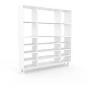 Bücherregal Weiß - Modernes Regal für Bücher: Hochwertige Qualität, einzigartiges Design - 154 x 168 x 35 cm, Individuell konfigurierbar