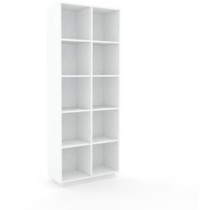 Bücherregal Weiß - Modernes Regal für Bücher: Hochwertige Qualität, einzigartiges Design - 79 x 200 x 35 cm, Individuell konfigurierbar