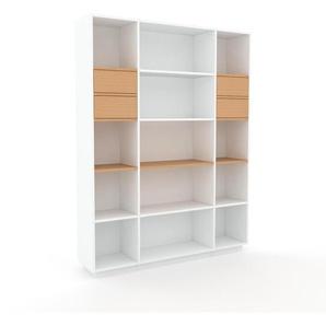 Bücherregal Weiß - Modernes Regal für Bücher: Schubladen in Buche - 154 x 200 x 35 cm, Individuell konfigurierbar