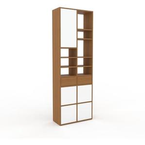 Bücherregal Eiche - Modernes Regal für Bücher: Schubladen in Eiche & Türen in Weiß - 79 x 233 x 35 cm, konfigurierbar