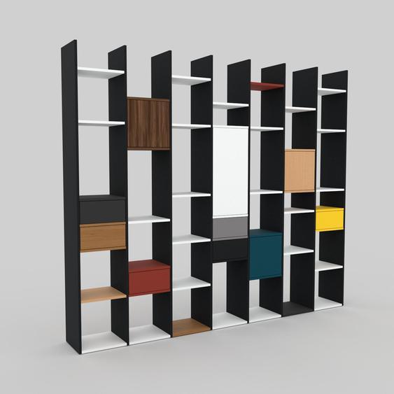 Bücherregal Weiß - Modernes Regal für Bücher: Schubladen in Graphitgrau & Türen in Nussbaum - 272 x 233 x 35 cm, konfigurierbar