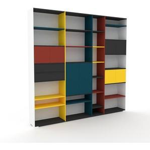 Bücherregal Weiß - Modernes Regal für Bücher: Schubladen in Anthrazit & Türen in Rot - 265 x 254 x 35 cm, konfigurierbar