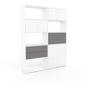 Bücherregal Weiß - Modernes Regal für Bücher: Schubladen in Grau & Türen in Weiß - 152 x 195 x 35 cm, konfigurierbar