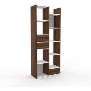Bücherregal Nussbaum - Modernes Regal für Bücher: Schubladen in Nussbaum - 79 x 195 x 35 cm, Individuell konfigurierbar
