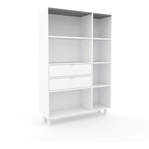 Bücherregal Weiß - Modernes Regal für Bücher: Schubladen in Weiß - 116 x 168 x 35 cm, Individuell konfigurierbar