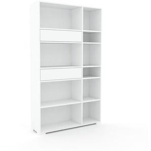 Bücherregal Weiß - Modernes Regal für Bücher: Schubladen in Weiß - 116 x 196 x 35 cm, Individuell konfigurierbar