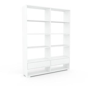 Bücherregal Weiß - Modernes Regal für Bücher: Schubladen in Weiß - 152 x 196 x 35 cm, Individuell konfigurierbar