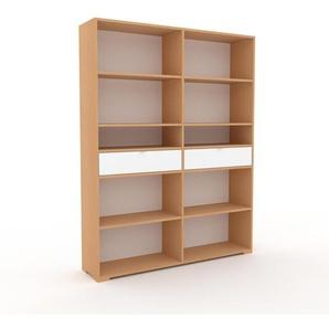 Bücherregal Buche - Modernes Regal für Bücher: Schubladen in Weiß - 152 x 196 x 35 cm, Individuell konfigurierbar