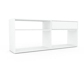 Bücherregal Weiß - Modernes Regal für Bücher: Schubladen in Weiß - 152 x 61 x 35 cm, Individuell konfigurierbar