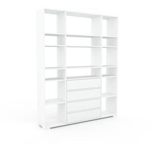 Bücherregal Weiß - Modernes Regal für Bücher: Schubladen in Weiß - 154 x 196 x 35 cm, Individuell konfigurierbar