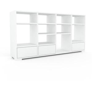 Bücherregal Weiß - Modernes Regal für Bücher: Schubladen in Weiß - 156 x 81 x 35 cm, Individuell konfigurierbar