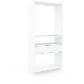 Bücherregal Weiß - Modernes Regal für Bücher: Schubladen in Weiß - 77 x 162 x 35 cm, Individuell konfigurierbar