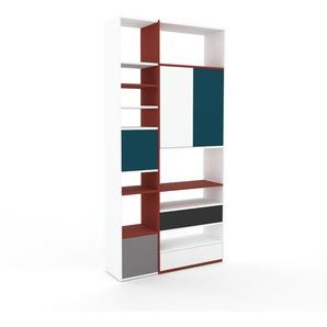 Bücherregal Weiß - Modernes Regal für Bücher: Schubladen in Weiß & Türen in Blau - 116 x 233 x 35 cm, konfigurierbar