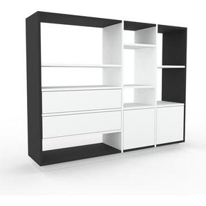 Bücherregal Anthrazit - Modernes Regal für Bücher: Schubladen in Weiß & Türen in Weiß - 154 x 124 x 35 cm, konfigurierbar