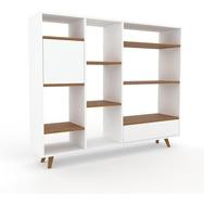 Bücherregal Weiß - Modernes Regal für Bücher: Schubladen in Weiß & Türen in Weiß - 154 x 130 x 35 cm, konfigurierbar