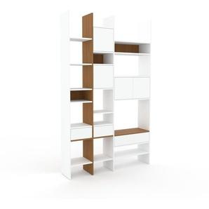 Bücherregal Weiß - Modernes Regal für Bücher: Schubladen in Weiß & Türen in Weiß - 154 x 253 x 35 cm, konfigurierbar