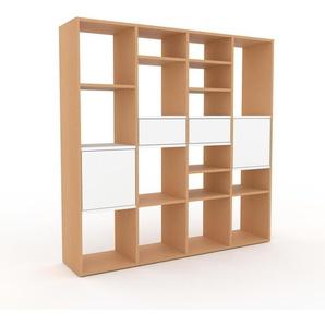 Bücherregal Buche - Modernes Regal für Bücher: Schubladen in Weiß & Türen in Weiß - 156 x 157 x 35 cm, konfigurierbar