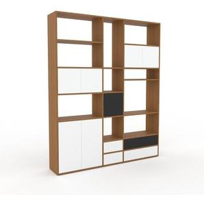 Bücherregal Eiche - Modernes Regal für Bücher: Schubladen in Weiß & Türen in Weiß - 190 x 233 x 35 cm, konfigurierbar