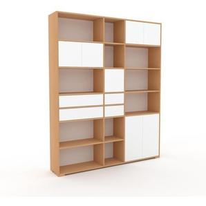 Bücherregal Buche - Modernes Regal für Bücher: Schubladen in Weiß & Türen in Weiß - 190 x 235 x 35 cm, konfigurierbar