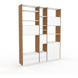 Bücherregal Eiche - Modernes Regal für Bücher: Schubladen in Weiß & Türen in Weiß - 190 x 239 x 35 cm, konfigurierbar
