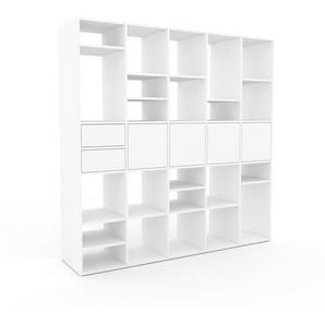 Bücherregal Weiß - Modernes Regal für Bücher: Schubladen in Weiß & Türen in Weiß - 195 x 195 x 47 cm, konfigurierbar