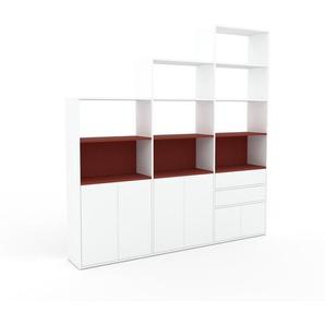 Bücherregal Weiß - Modernes Regal für Bücher: Schubladen in Weiß & Türen in Weiß - 226 x 233 x 35 cm, konfigurierbar