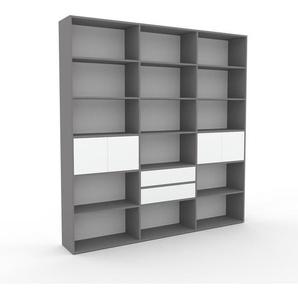 Bücherregal Grau - Modernes Regal für Bücher: Schubladen in Weiß & Türen in Weiß - 226 x 233 x 35 cm, konfigurierbar