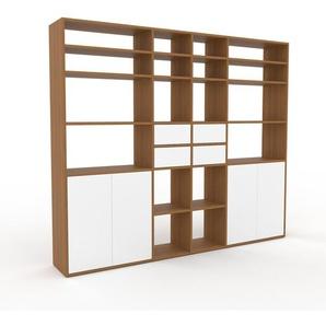 Bücherregal Eiche - Modernes Regal für Bücher: Schubladen in Weiß & Türen in Weiß - 229 x 195 x 35 cm, konfigurierbar