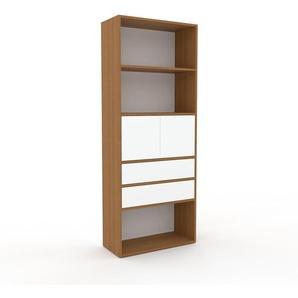 Bücherregal Eiche - Modernes Regal für Bücher: Schubladen in Weiß & Türen in Weiß - 77 x 195 x 35 cm, konfigurierbar