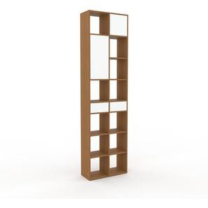 Bücherregal Eiche - Modernes Regal für Bücher: Schubladen in Weiß & Türen in Weiß - 79 x 291 x 35 cm, konfigurierbar