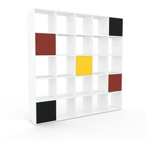 Bücherregal Weiß - Modernes Regal für Bücher: Türen in Schwarz - 195 x 195 x 35 cm, Individuell konfigurierbar