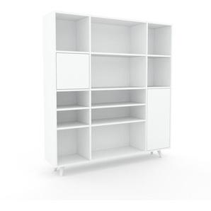 Bücherregal Weiß - Modernes Regal für Bücher: Türen in Weiß - 154 x 168 x 35 cm, Individuell konfigurierbar
