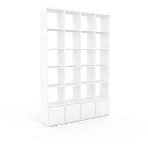 Bücherregal Weiß - Modernes Regal für Bücher: Türen in Weiß - 156 x 233 x 35 cm, Individuell konfigurierbar