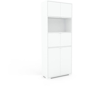 Bücherregal Weiß - Modernes Regal für Bücher: Türen in Weiß - 77 x 196 x 35 cm, Individuell konfigurierbar
