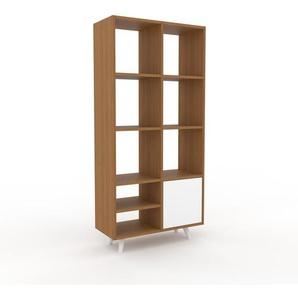 Bücherregal Eiche - Modernes Regal für Bücher: Türen in Weiß - 79 x 168 x 35 cm, Individuell konfigurierbar