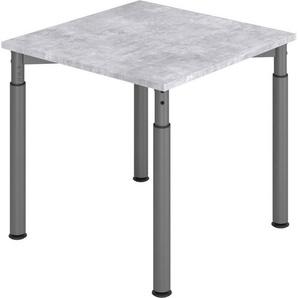 bümö Schreibtisch »OM-YS08-G«, höhenverstellbar - Quadrat: 80x80 cm - Gestell: Graphit, Dekor: Beton