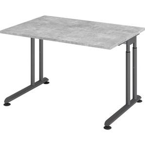 bümö Schreibtisch »OM-ZS12-G«, höhenverstellbar - Rechteck: 120x80 cm - Gestell: Graphit, Dekor: Beton