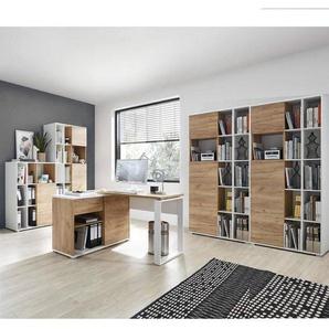 Büromöbel Kombination in weiß mit Navarra Eiche Nb. GENT-01 Schreibtisch mit Sideboard & Aktenschränke BxHxT: 340x197x40cm