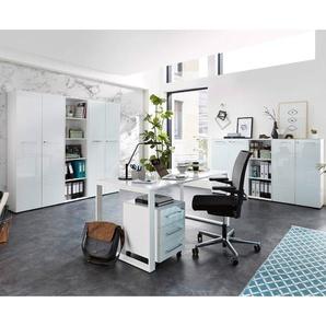 Büromöbel Komplett Set MONTERO-01 mit Glasfronten in weiß BxHxT ca.: 420 x 196 x 37 cm