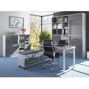 Büromöbel Komplettset in Grau und Weiß Made in Germany (vierteilig)