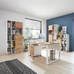 Büromöbel Komplettset in Weiß und Wildeiche Dekor Made in Germany (fünfteilig)