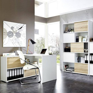 Büromöbel Set 2-teilig MANHATTEN-01 Weiß, Sonoma-Eiche-Nb.